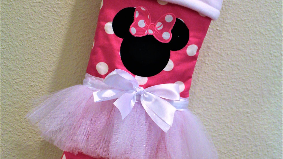 Hot Pink polka dot Mouse Christmas stocking personalized stockings