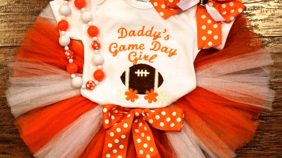 Orange and white girl football outfit Daddy's girl football shirt