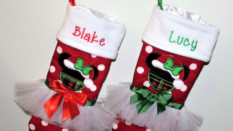 Personalized Christmas Mouse stocking red and white polka dot Minnie stocking
