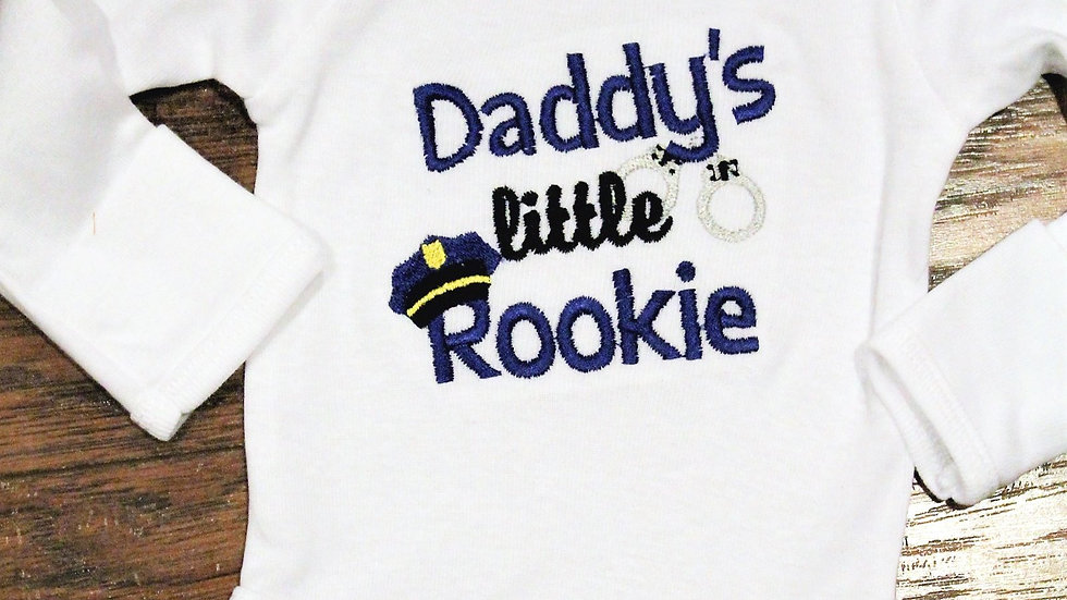 Baby boy Daddy's Little Rookie Policeman bodysuit baby boy gift