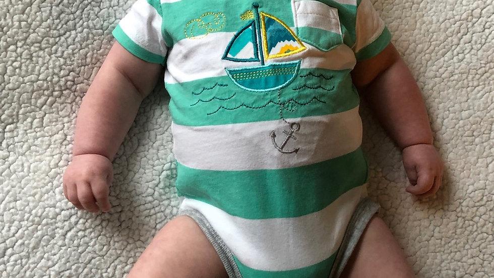 Nautical baby boy sailboat bodysuit