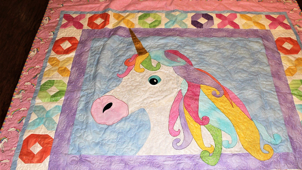 Rainbow Unicorn Quilt throw size twin size full size bed quilts