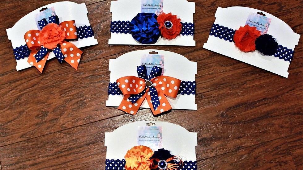 Orange and blue football headbands florida