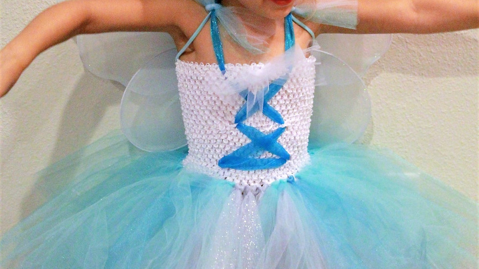 Blue white silver Butterfly fairy princess tutu dress Halloween costume