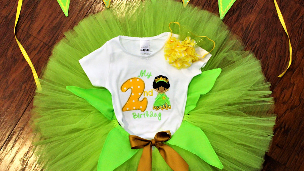 Frog Princess 2nd birthday outfit second princess lime green garden fairy
