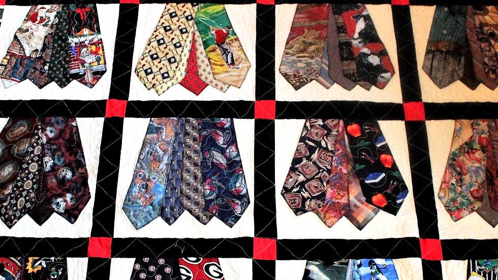 Neck tie quilt memory quilt made from men's ties