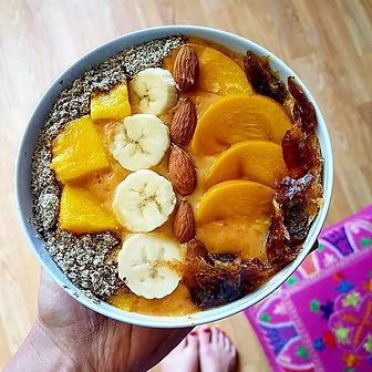 A sunshine mango smoothie bowl for a sun