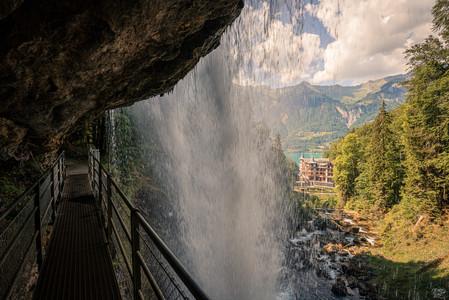 Giessbachfalls behind the Waterfall