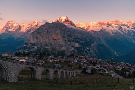 Sunset over Mürren, Switzerland