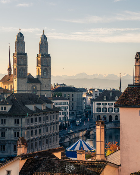 Beautiful Zurich City with Mountain Panorama