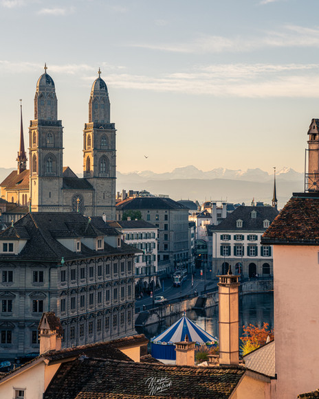 Beautiful Zurich City with Mountain Panorama