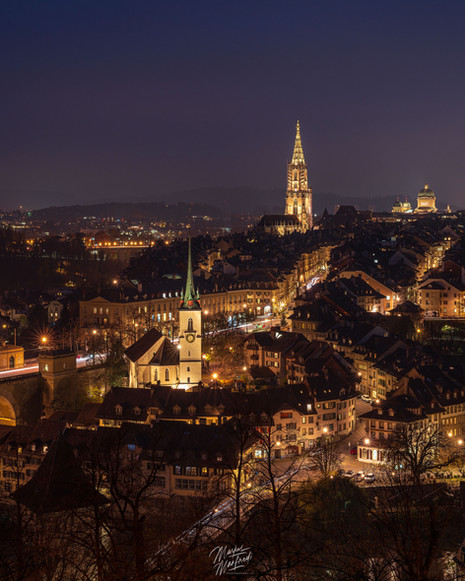 Night over old town in Berne, Switzerland