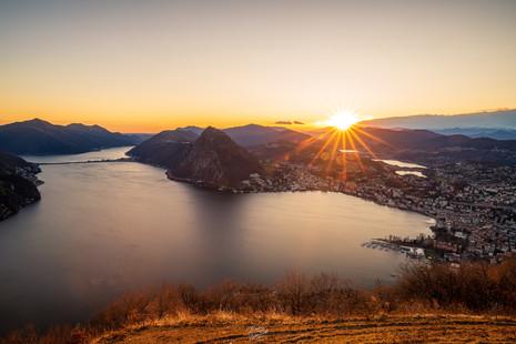 Sunset over Lugano