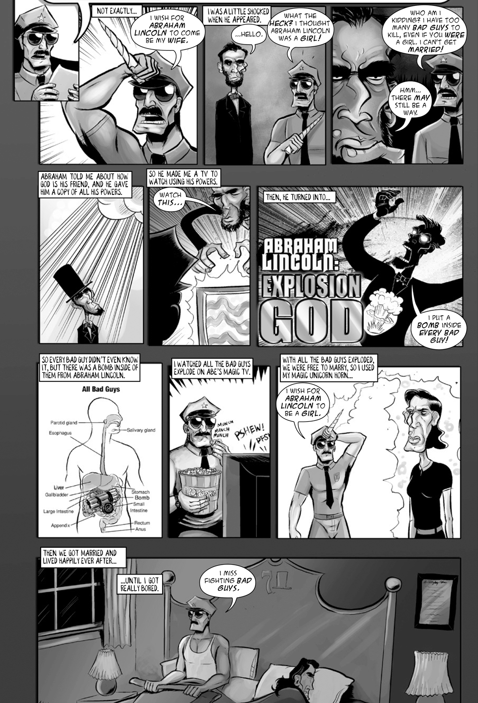 """One of the most bizarre moments in Axe Cop history (and that's saying something) is when he marries Abe Lincoln after turning him into a woman. It came based on the fact that Malachai didn't actually know anything about Lincoln when he answered this question and for some reason thought """"Abraham"""" sounded like a girl's name. Original post: Original post: http://axecop.com/comic/ask-axe-cop-24/"""
