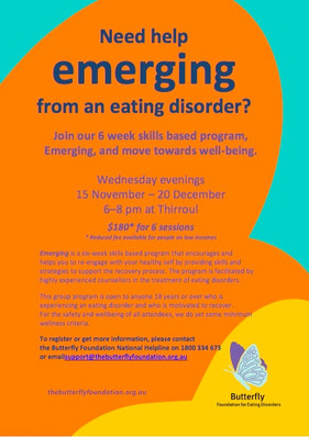 'Emerging' Eating Disorder Recovery 6-week Skills Training for The Butterfly Foundation