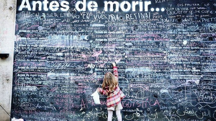 A wall of 'Before I Die' messages