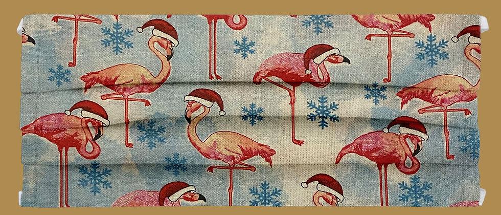 Flamingos in Santa hats