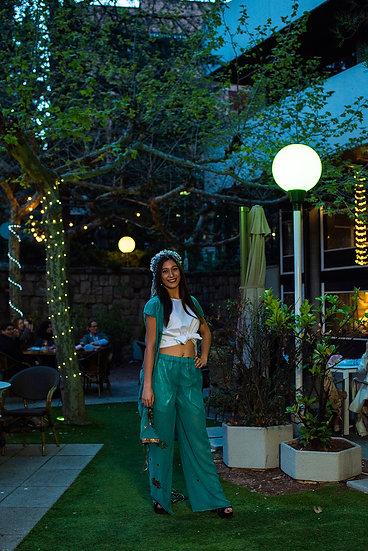 Pantalón Verde Agua Bordado