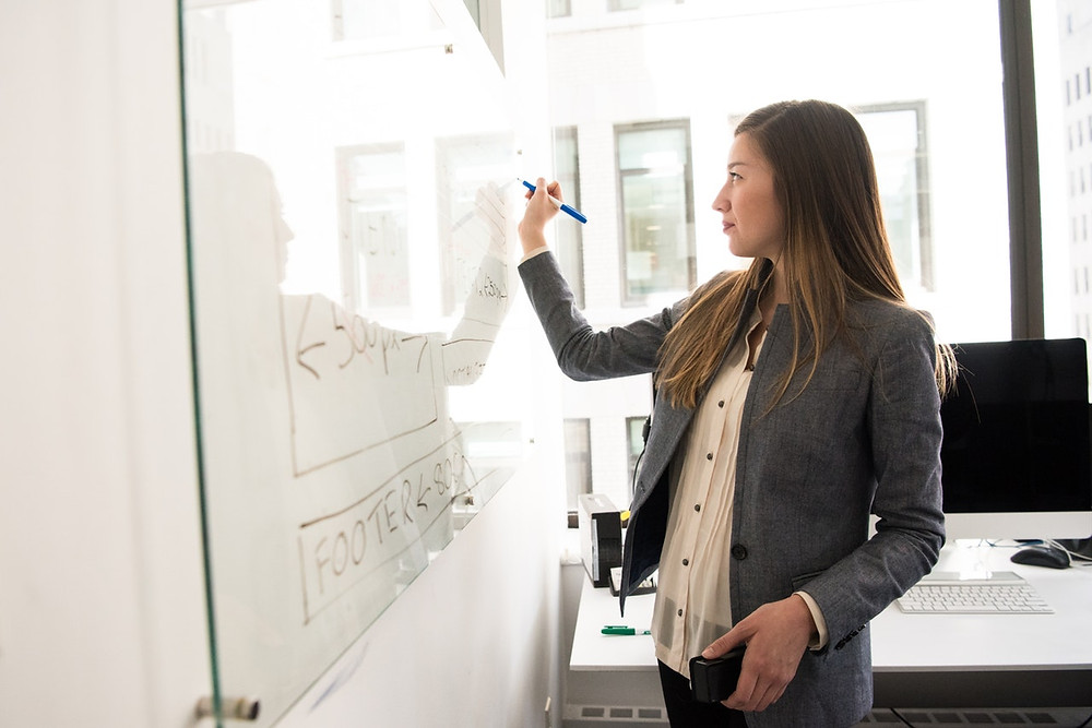 Businesswoman writing on a whiteboard