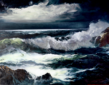Moonlight Through A Breaking Waves - Dick Frizzell