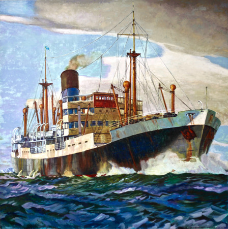 Illustrated Cargo Ship - Dick Frizzell