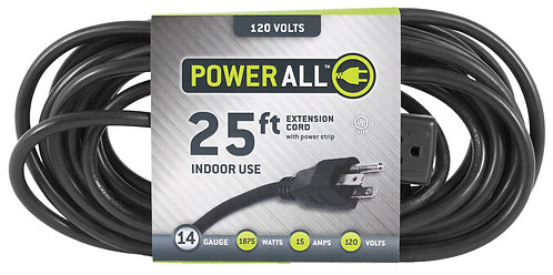 Power All® Extension Cords with 3 Outlet Power Strip 120 & 240 Volt