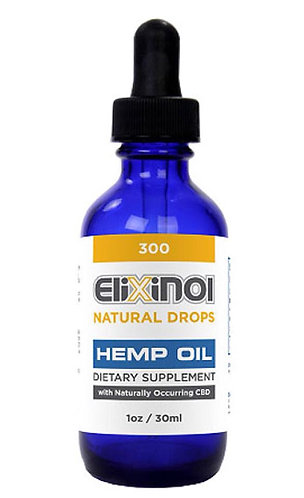 CBD Tincture- Hemp Oil Drops 300 mg CBD - Natrual Flavor Elixinol