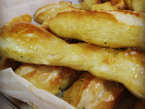 Homemade soft pretzels with garlic butter