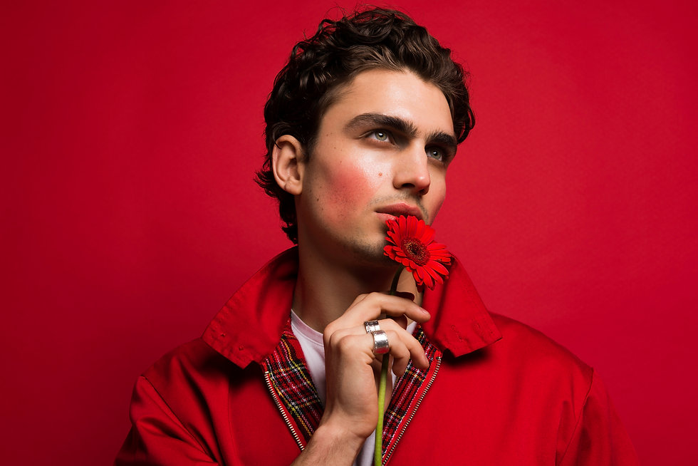 Colourful Mens Editrorial Photography with flowers editorial