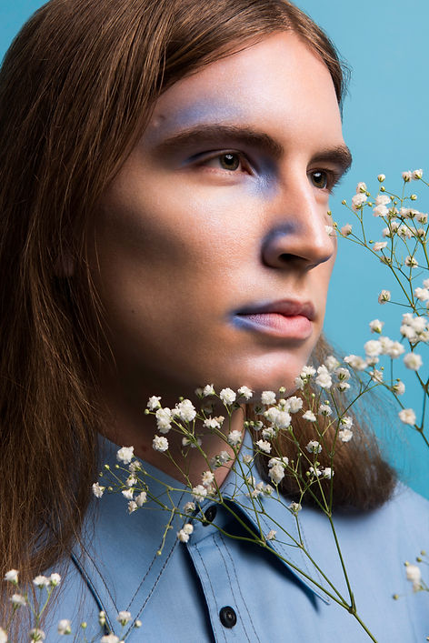 Colourful Mens Editrorial Photography with flowers