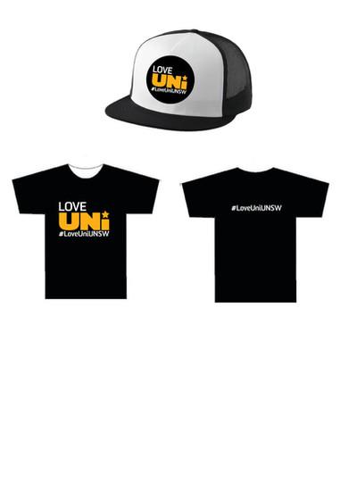 Love uni t-shirt & caps