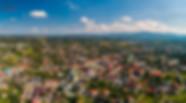 Panorama z powierza zdjęcie z drona na kęcki rynek