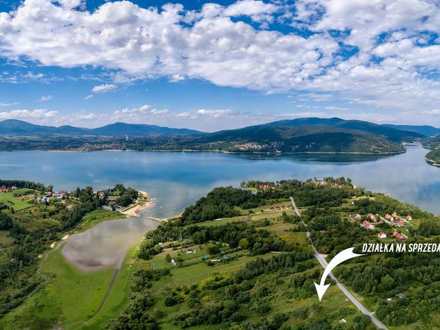 Zdjęcie z powietrza działki na sprzedaż Żywiec
