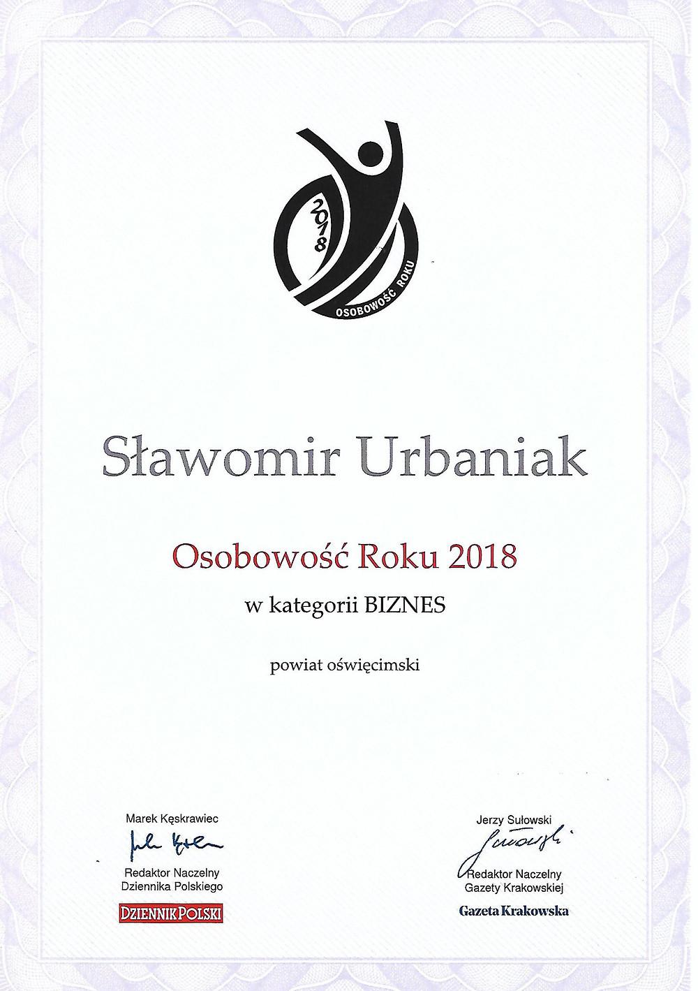Dyplom - Sławomir Urbaniak - Osobowość Roku w kategorii biznes 2018w powiecie oświęcimskim Dronteam