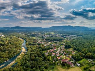 Kęty - Nasze miasto. Panorama rzeki Soły Kęty z lotu ptaka