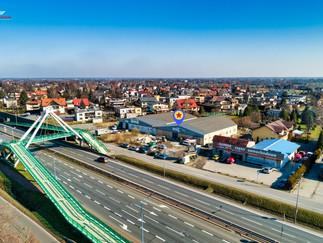 Zdjęcie z drona Pszczyna hala na sprzedaż przy wiadukcie