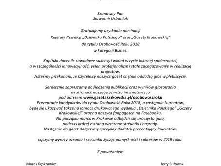1 miejsce w plebiscycie Gazety Krakowskiej i Dziennika Polskiego: Osobowość Roku 2018 w kategorii:
