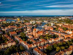 Zdjęcie z drona centrum Gdańska wykonane podczas pracy nad filmem promocyjnym dla Ziemia Inwestycje