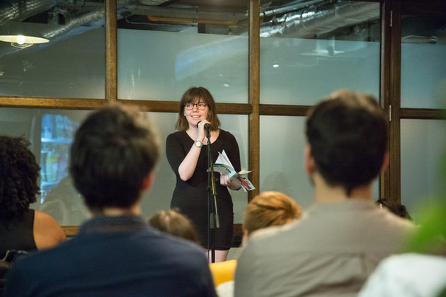 Ruby Martin reads at a live Untitled event