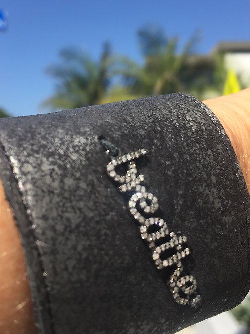 Breathe Diamond & Leather Cuff Bracelet
