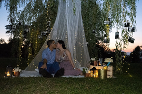 Photos, Memories, Proposal, Lights, Nature, Rustic, Picnic, Canapee, She Said Yes, Sunset, Romantic, Love, Candles, String Lights