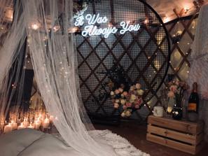 Proposal, Love, Engagement, Decor, Romantic, Lanterns, Candles, Backyard, Home, Night Time, Yurt, Neon, Fireplace
