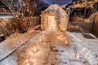 Proposal, Love, Engagement, Arch, Decor, Romantic, Lanterns, Candles, Backyard, Home, Night Time, Yurt, Snow