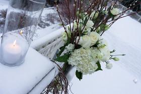 Winter, Candles, Snow, Flowers, Golf Course, Winter Wonderland