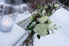 Winter, Candles, Snow, Flowers, Golf Course, Winter Wonderland