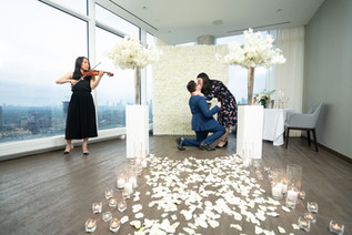 Proposal, Rose Petals, Aisle, Candles, Pillars, Bouquet, Violin, Musician, On One Knee, She Said Yes, View, Flower Wall, Romantic