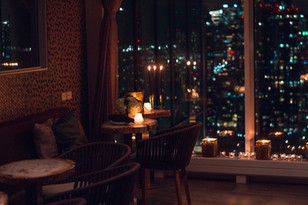 Candles, View, Night, City, Romantic, Dim, Dinner