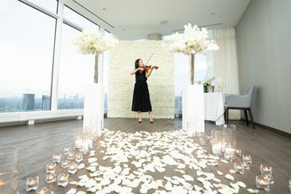 Proposal, Rose Petals, Aisle, Candles, Pillars, Bouquet, View, Flower Wall, Romantic, Violin, Musician
