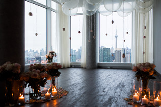 Flowers, Roses, Pink, Blush, Proposal, Bouquet, Candles, Romantic, View, City, Balloons, Cntower