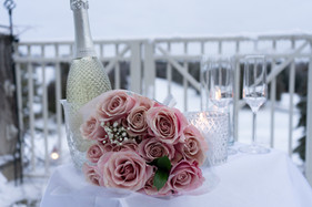 Flowers, Roses, Pink, Blush, Proposal, Bouquet, Winter, Snow, Wine, Champagne, Candles